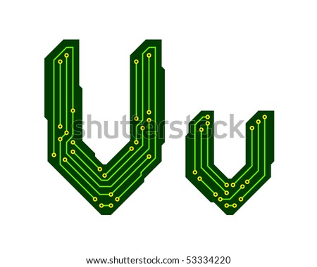 Hi-tech circuit board alphabet. Letter V - stock vector