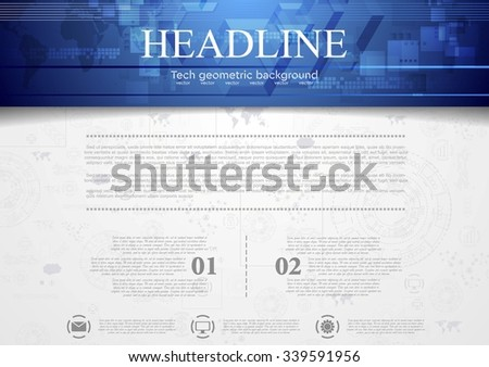 Hi-tech corporate background with blue header. Vector design - stock vector