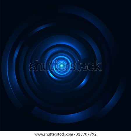 Hi-tech digital circular element. Vector futuristic  background. Intergalactic gates illustration for techno posters and backdrops. Abstract glossy swirl tunnel. Dark blue with a glowing center.