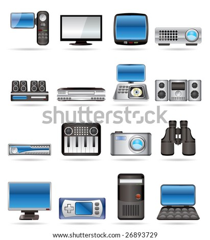 Hi-tech equipment - vector icon set 2 - stock vector