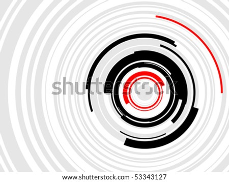 Hi-Tech HUD Rings Vector Layered vector illustration of geometric, concentric rings in black, greet and red.