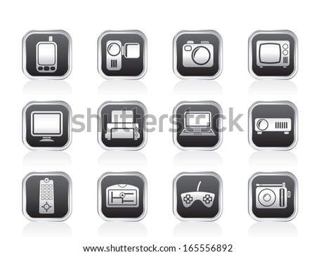 Hi-tech technical equipment icons - vector icon set