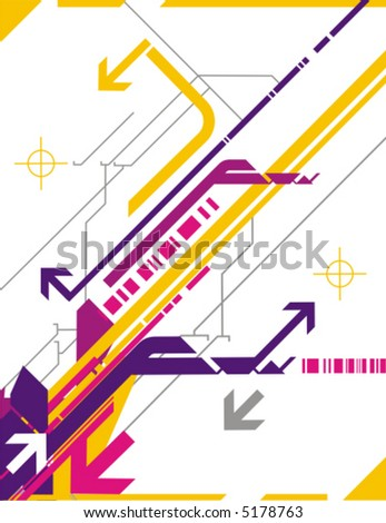 Hi-tech vector background series with arrow details. - stock vector