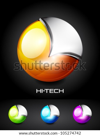 Hi-tech vector 3d sphere icon - stock vector