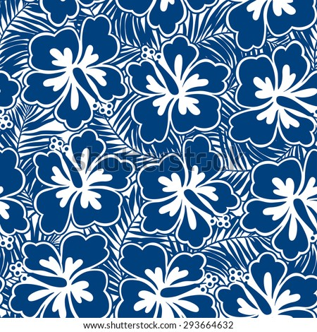 Hibiscus blue flowers and tropical leaves in a seamless pattern.