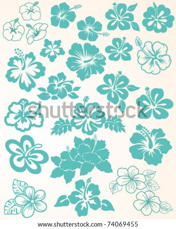 Hibiscus Collection - stock vector