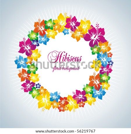 Hibiscus. Colorful floral frame. - stock vector