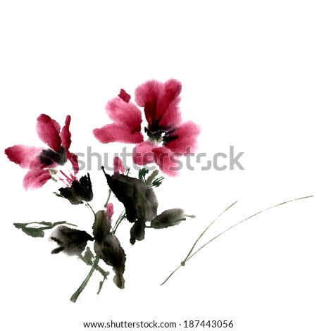 Hibiscus flower. Ink painting, watercolor. Vector - stock vector