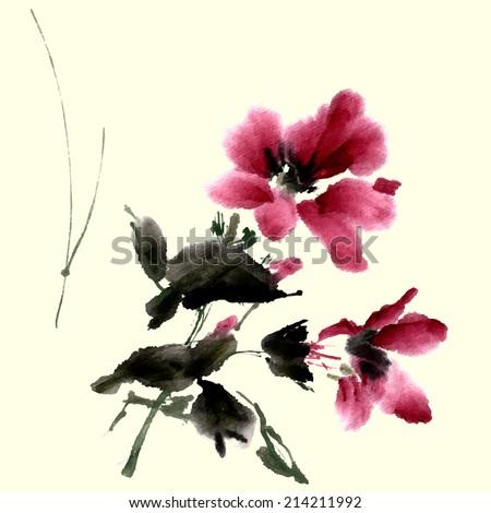 Hibiscus flower, ink painting, watercolor, vector.  - stock vector