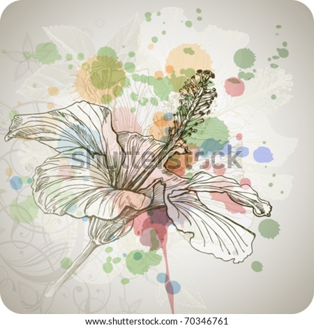 Hibiscus flower & watercolor background,  stylized orchid flowers - vector color paint - stock vector