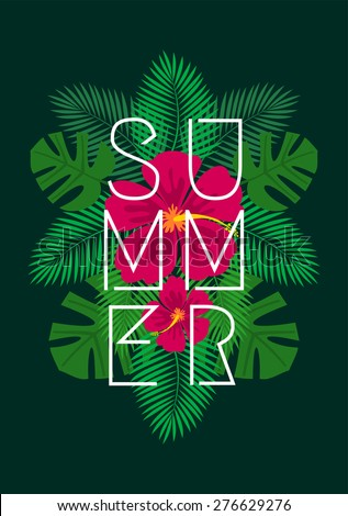 Hibiscus flowers and palm tree leaves exotic summer composition. Lineal style typographic design. Modern poster, card, flyer, t-shirt, apparel design. - stock vector