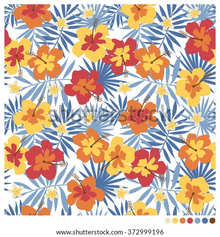 Hibiscus, frangipani flowers and palm leaves seamless vector pattern - stock vector
