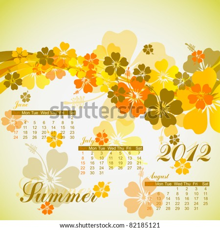 Hibiscus summer calendar 2012, vector illustration, eps10 - stock vector