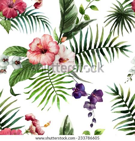 Hibiscus Wallpaper Watercolor Stock Vector 2018 233786605