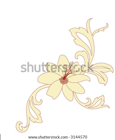 hibiscus with foliage vector - stock vector