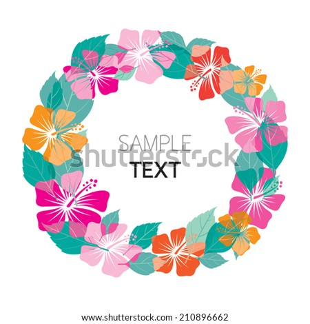 Hibiscus Wreath - stock vector