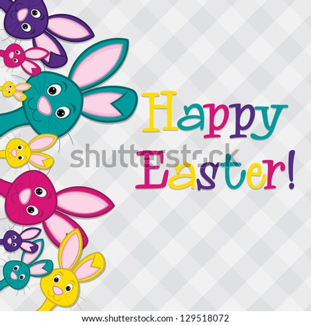 Hiding Easter Bunnies card in vector format. - stock vector