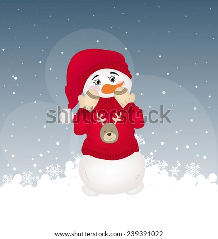 hiding snowman in a red printed pullover - stock vector
