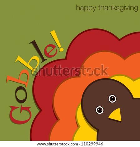 Hiding turkey felt Thanksgiving card in vector format. - stock vector
