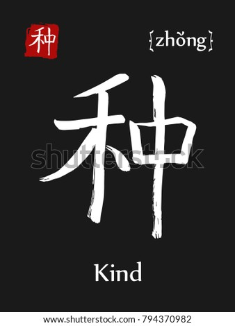 Hieroglyph Chinese Calligraphy Translate Kind Vector Stock Photo