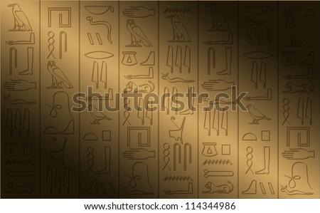 hieroglyphic poster - stock vector