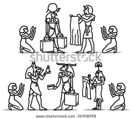 hieroglyphs shopping b/w - stock vector