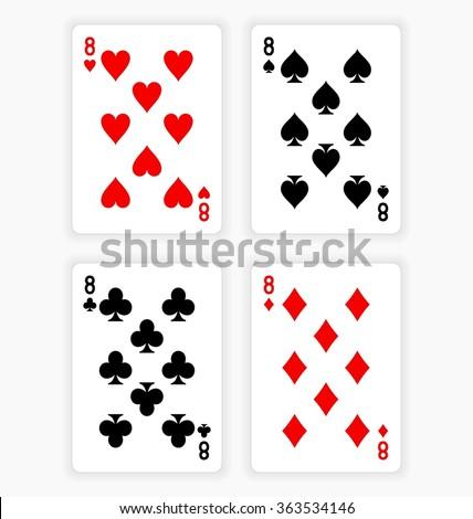High Angle View of Four Playing Cards Spread Out on White Background Showing Eights from Each Suit - Hearts, Clubs, Spades and Diamonds - stock vector