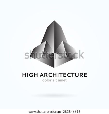 High architecture, tall buildings, construction. Editable vector logo. - stock vector