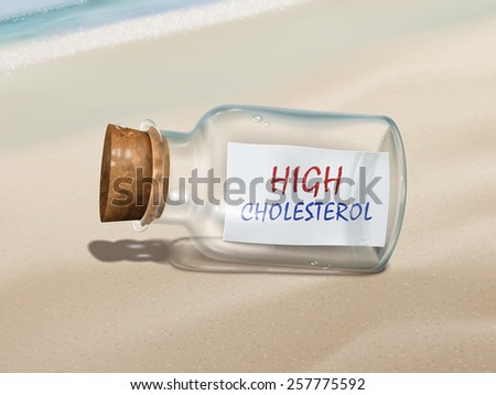high cholesterol in a bottle isolated on beautiful beach - stock vector