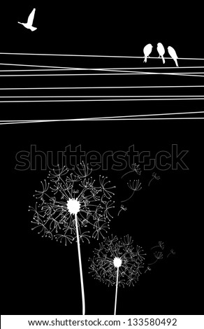 High contrast cables and birds, blown dandelion on black background. Vector file layered for easy manipulation and custom coloring. - stock vector
