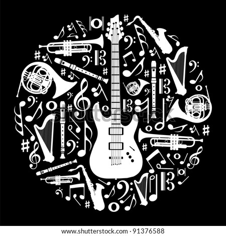 High contrast music instruments silhouette in circle shape. Vector file available. - stock vector