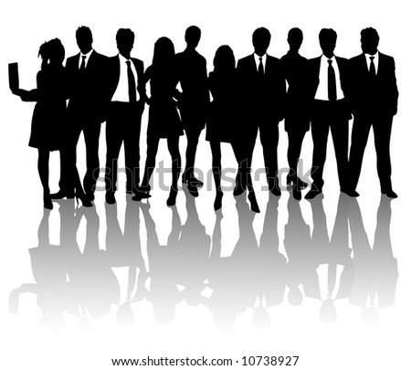 high detail business people vector silhouettes on white background