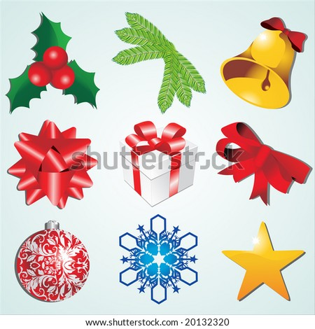 High detail christmas icons vector