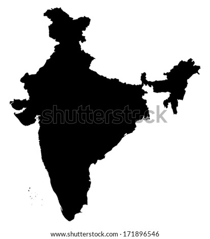 High detail India illustration Map - stock vector