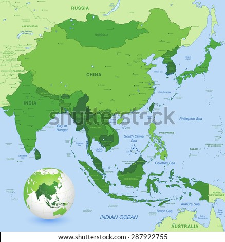high detail map of far east asia with a 3d globe centered on these countries