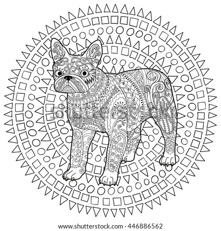 High Detail Patterned French Bulldog In Zentangle Style Adult Coloring Page With A Dog For