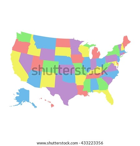 High detail USA map with different colors for each country. United States of America map in flat style. america usa federal states map isolated on white background - stock vector