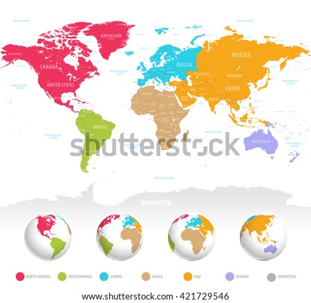 High detail vector colorful map of the world with political boundaries, country names and 3D globes of the earth. - stock vector