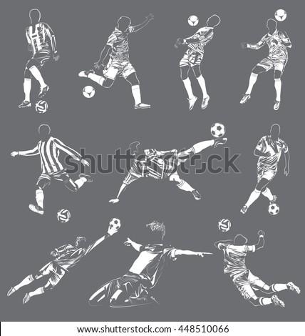 high detail vector football players - stock vector
