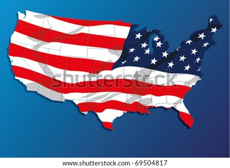High Detail vector Map of the United States of America States, with each state on its shape. - stock vector