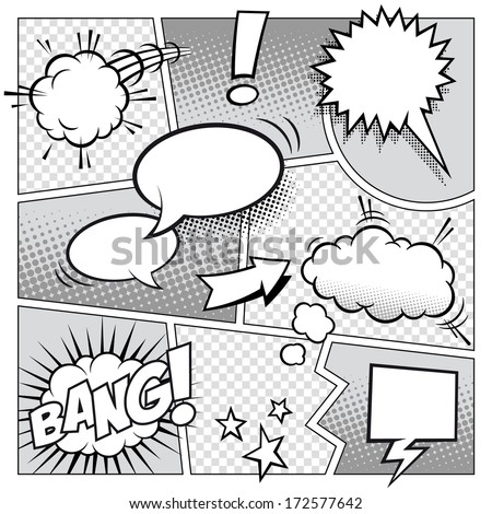 High detail vector mock-up of a typical comic book page with various speech bubbles, symbols and sound effects. - stock vector