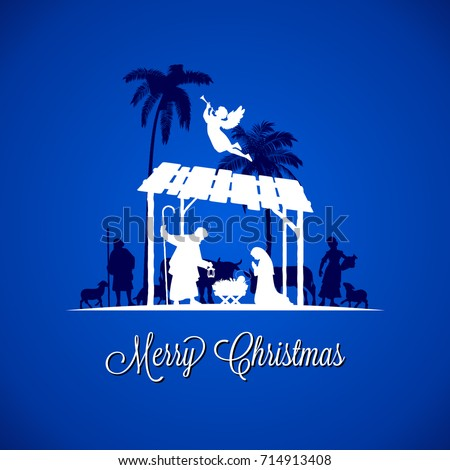 High Detail Vector Nativity Christmas Scene Merry Text On A Blue Background