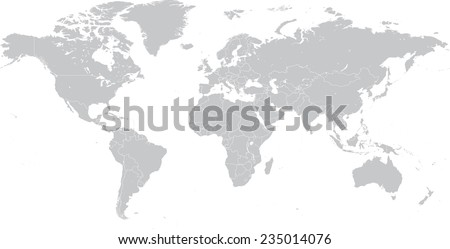 High Detail Vector Political World Map illustration, cleverly organized with layers.  - stock vector