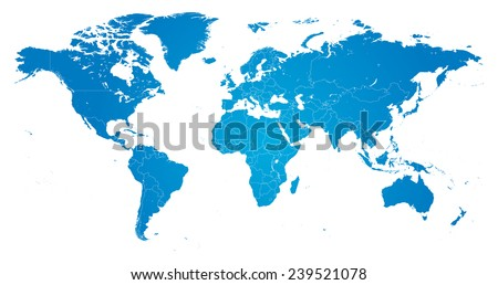 High Detail Vector Political World Map Stock Vector (Royalty Free ...