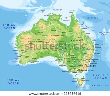 High detailed Australia physical map with labeling. - stock vector