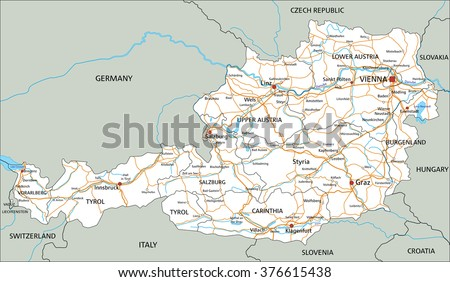 high detailed austria road map with labeling