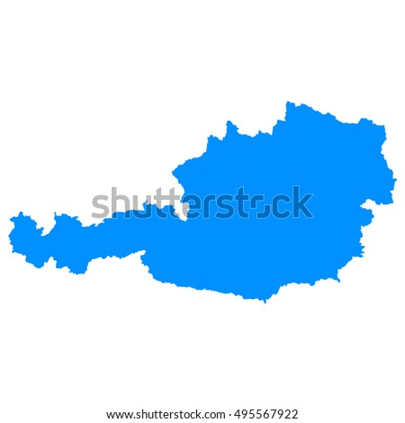 High detailed blue vector map - Austria