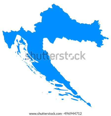 High detailed blue vector map - Croatia
