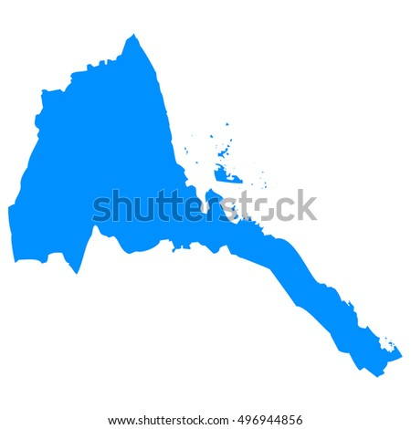 High detailed blue vector map - Eritrea