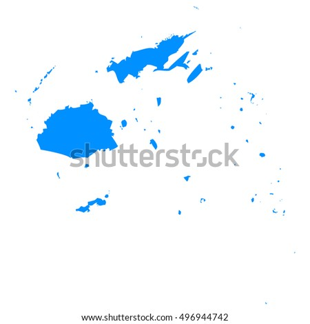 High detailed blue vector map - Fiji